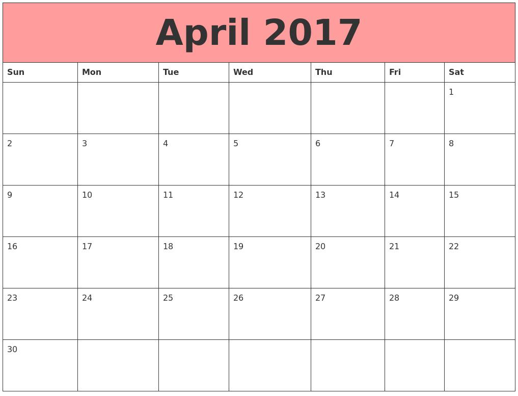 Cute April 2017 Printable Calendar