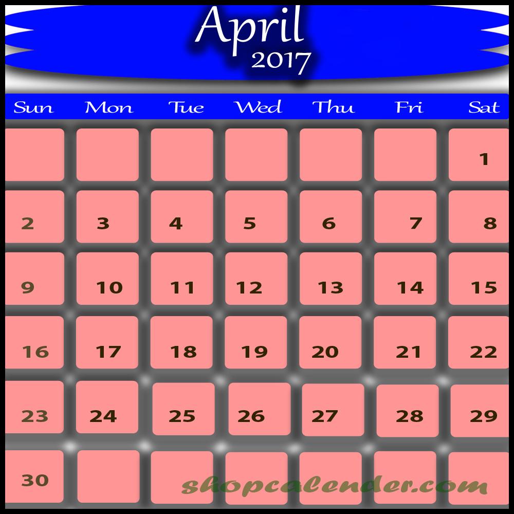 april 2017 calendar nz