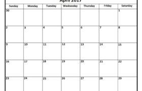 april 2017 calendar template