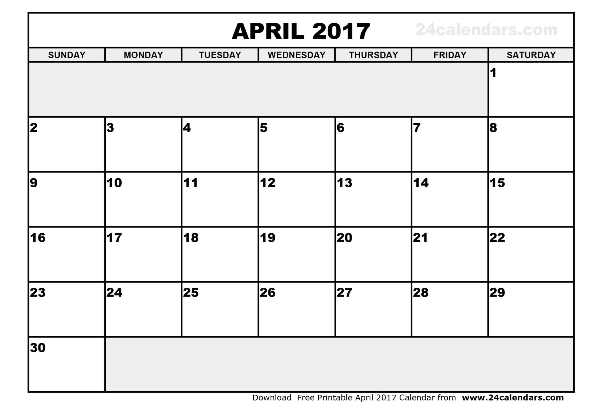 april 2017 calendar template printable
