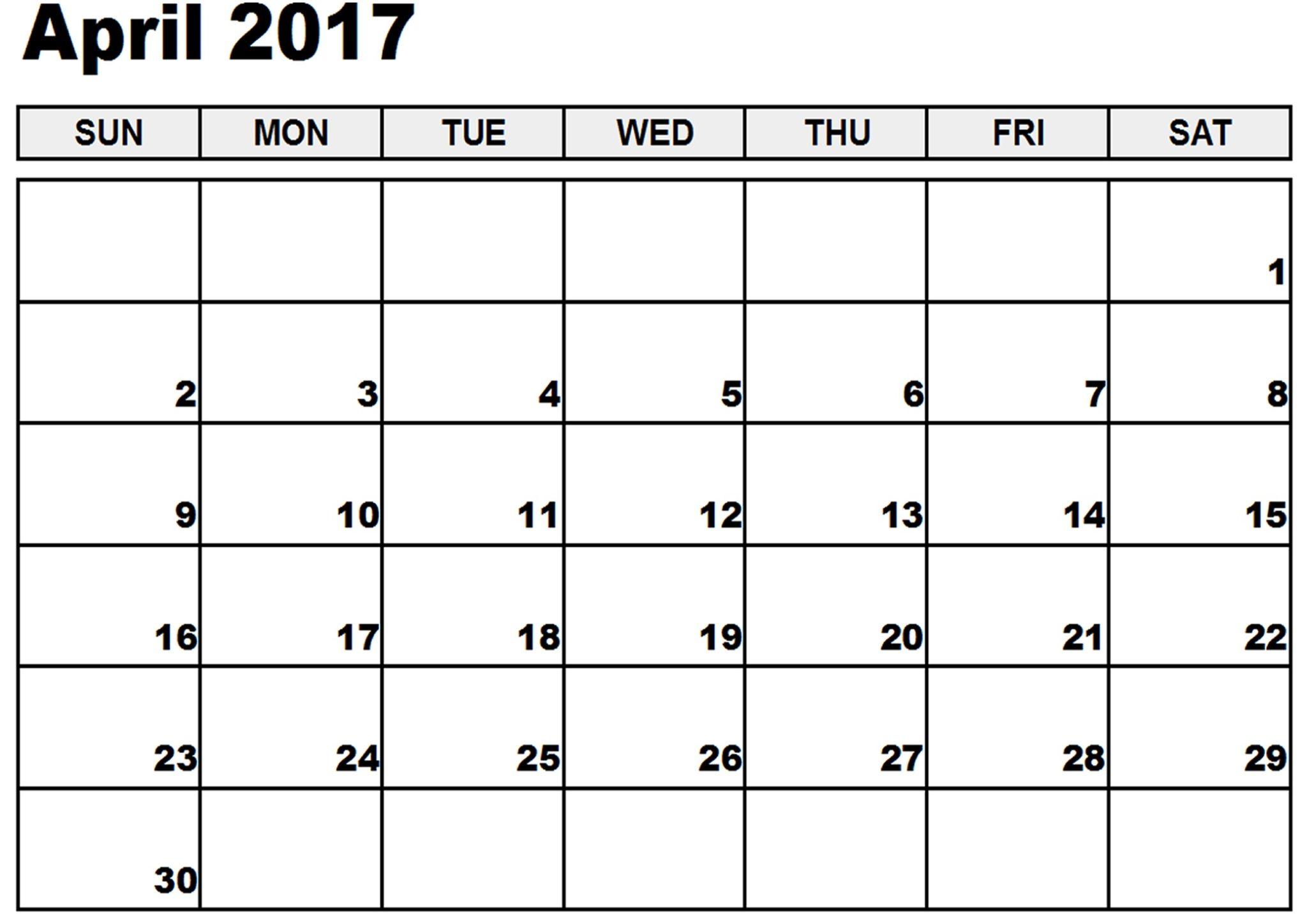 blank calendar april 2017 printable
