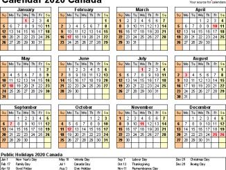 Calendar 2020 Printable Canada