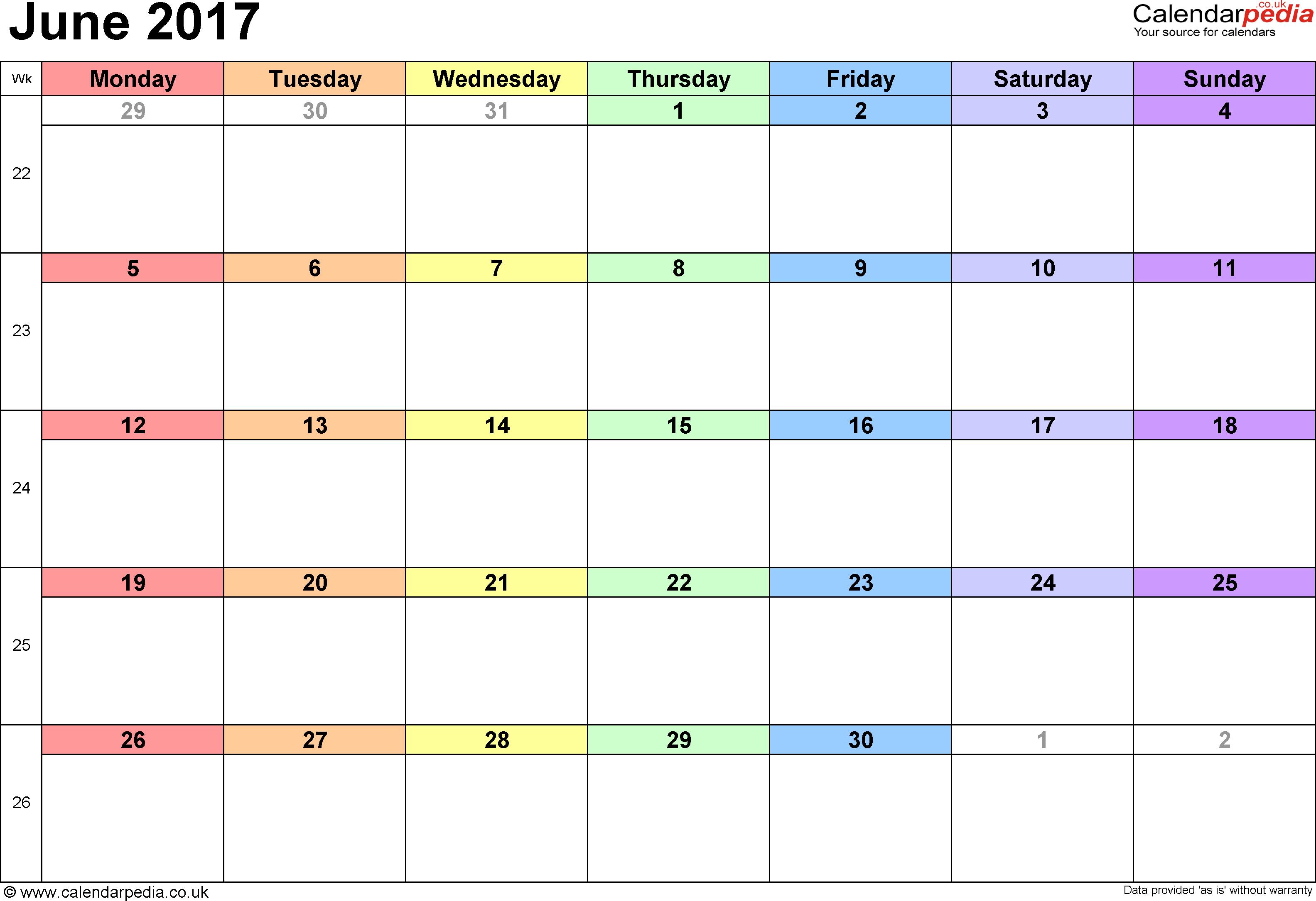 June Calendar 2017 UK