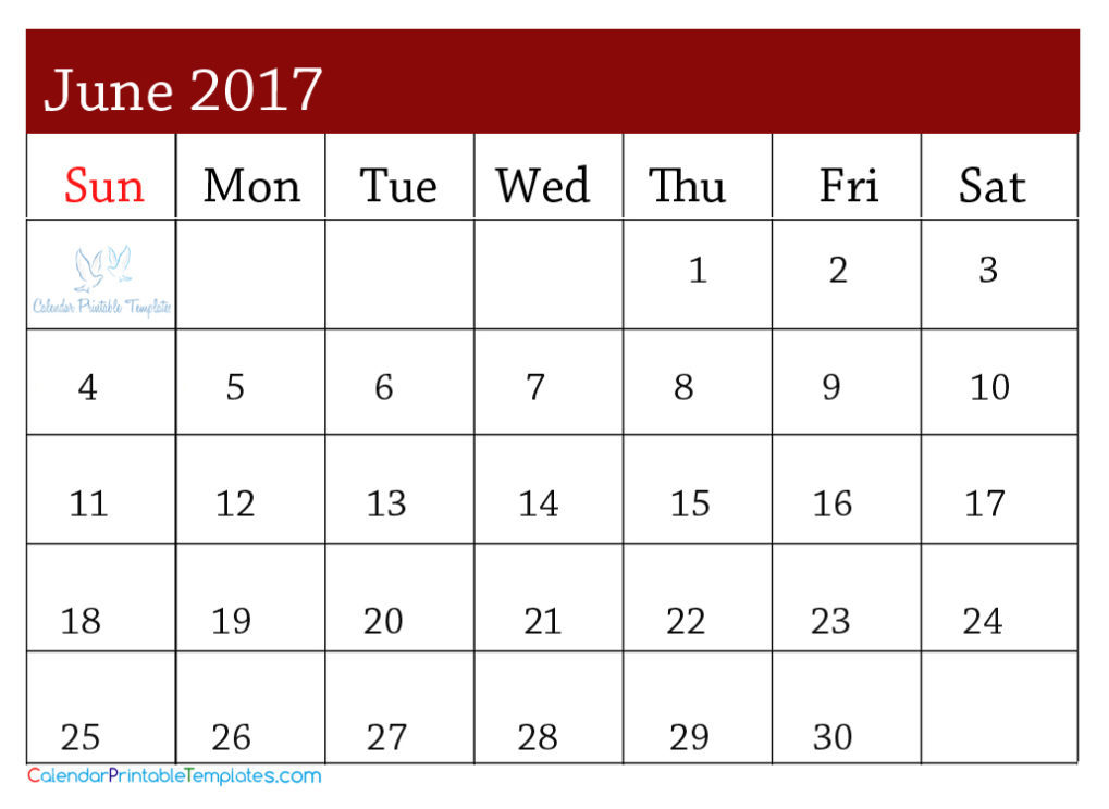 June Calendar 2017 usa