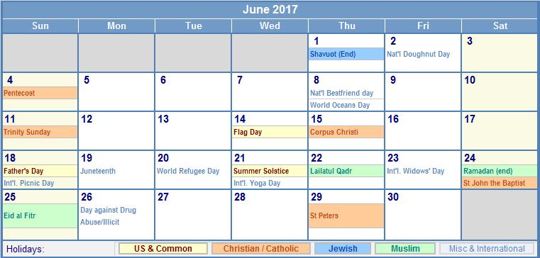 June Calendar 2017 with Holidays