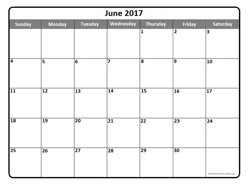 June Calendar 2017