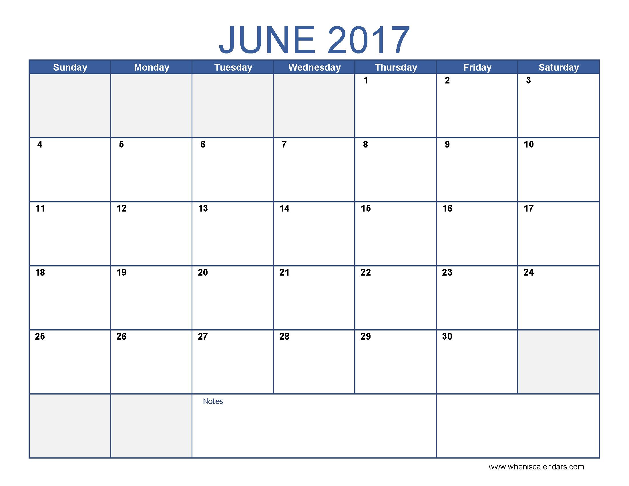 june 2017 calendar excel template