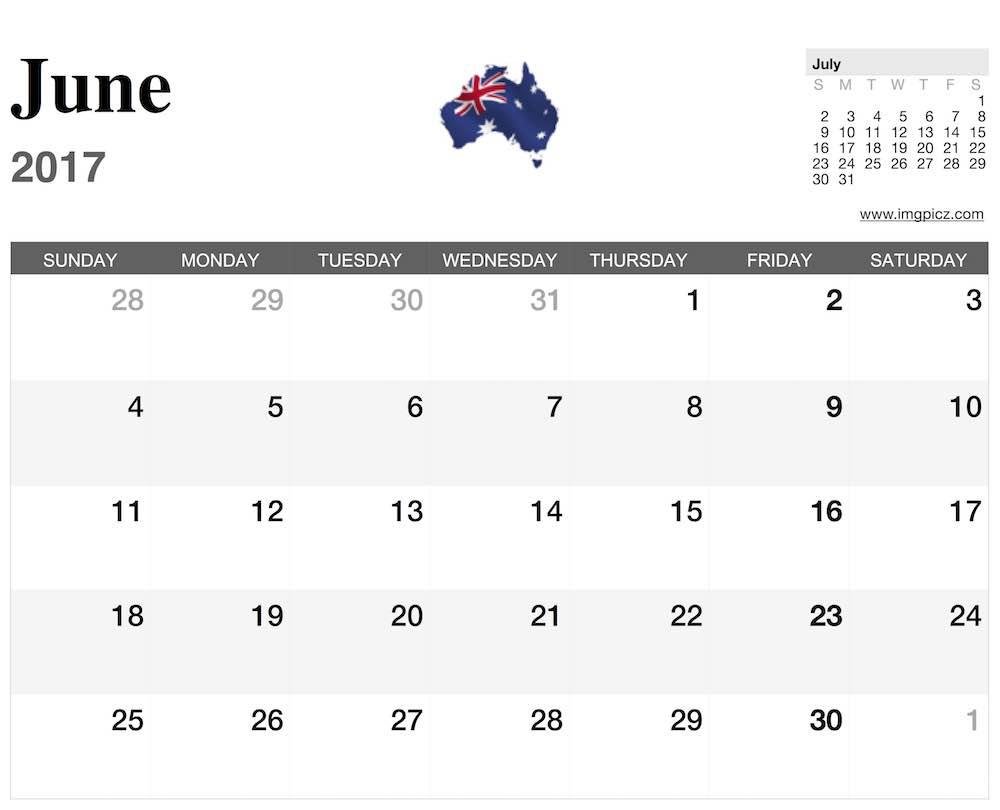 june calendar 2017 australia