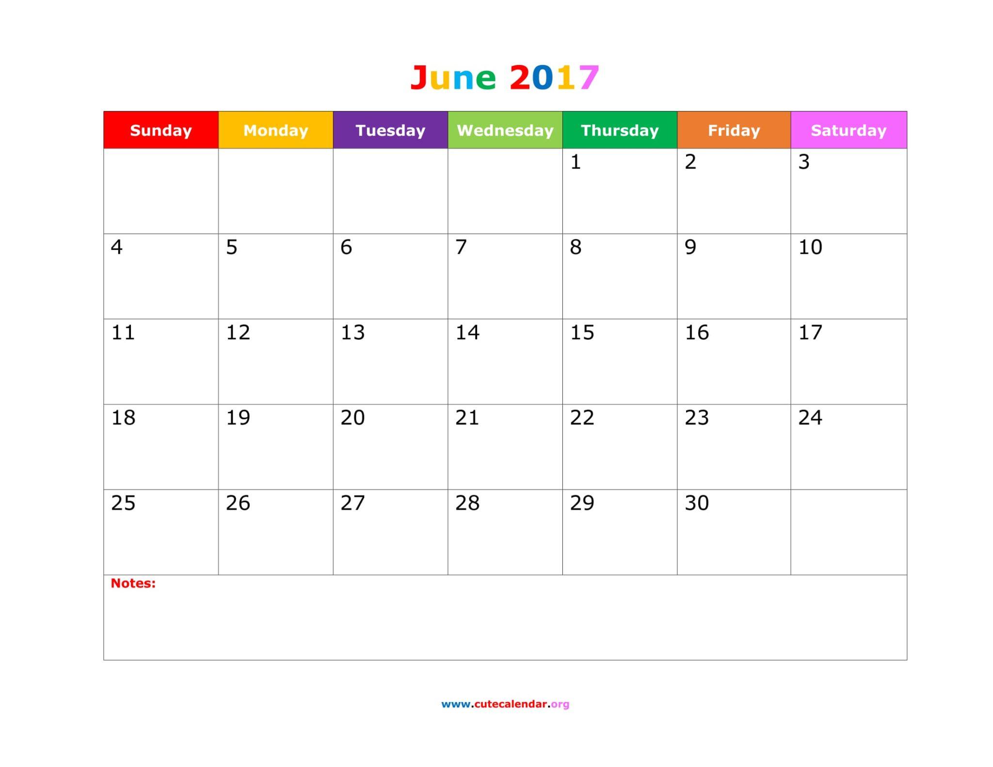 June Calendar 2017 Cute
