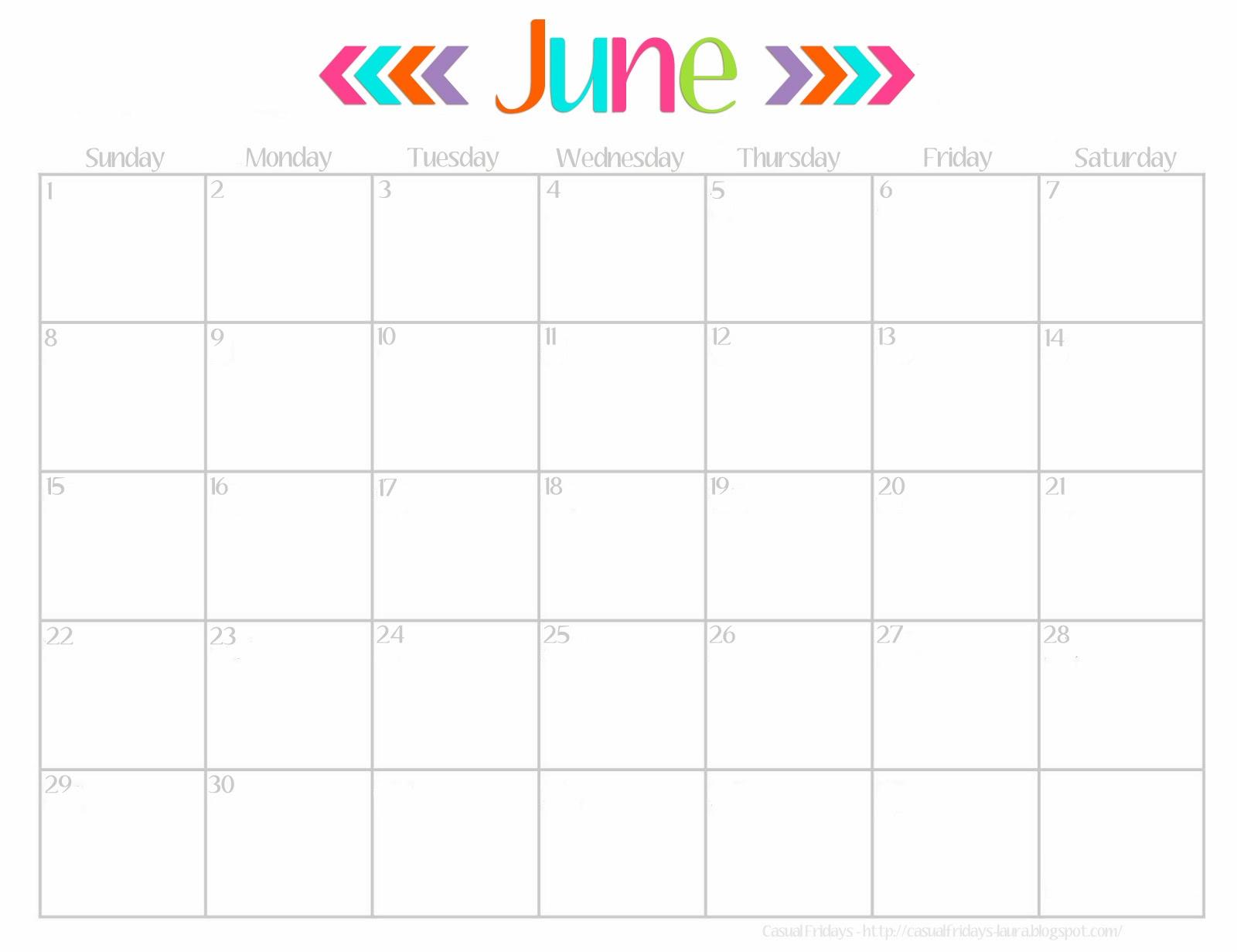 june calendar 2017 printable cute