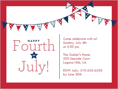 4th of July Party Invitation Cards