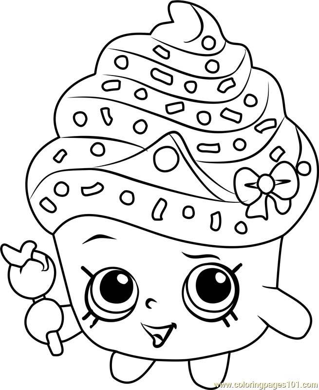 Cupcake Queen Shopkins Coloring Page