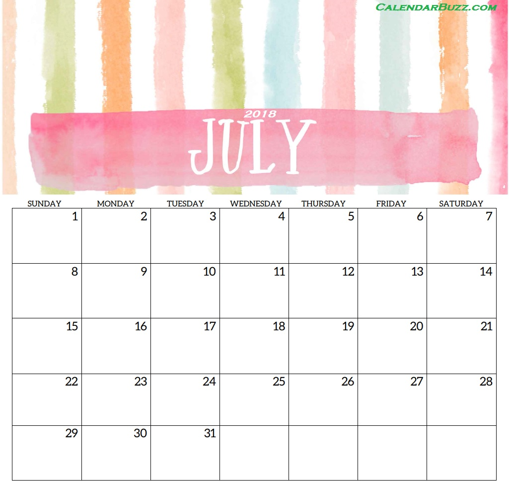 Cute Calendar for July 2018 Templates
