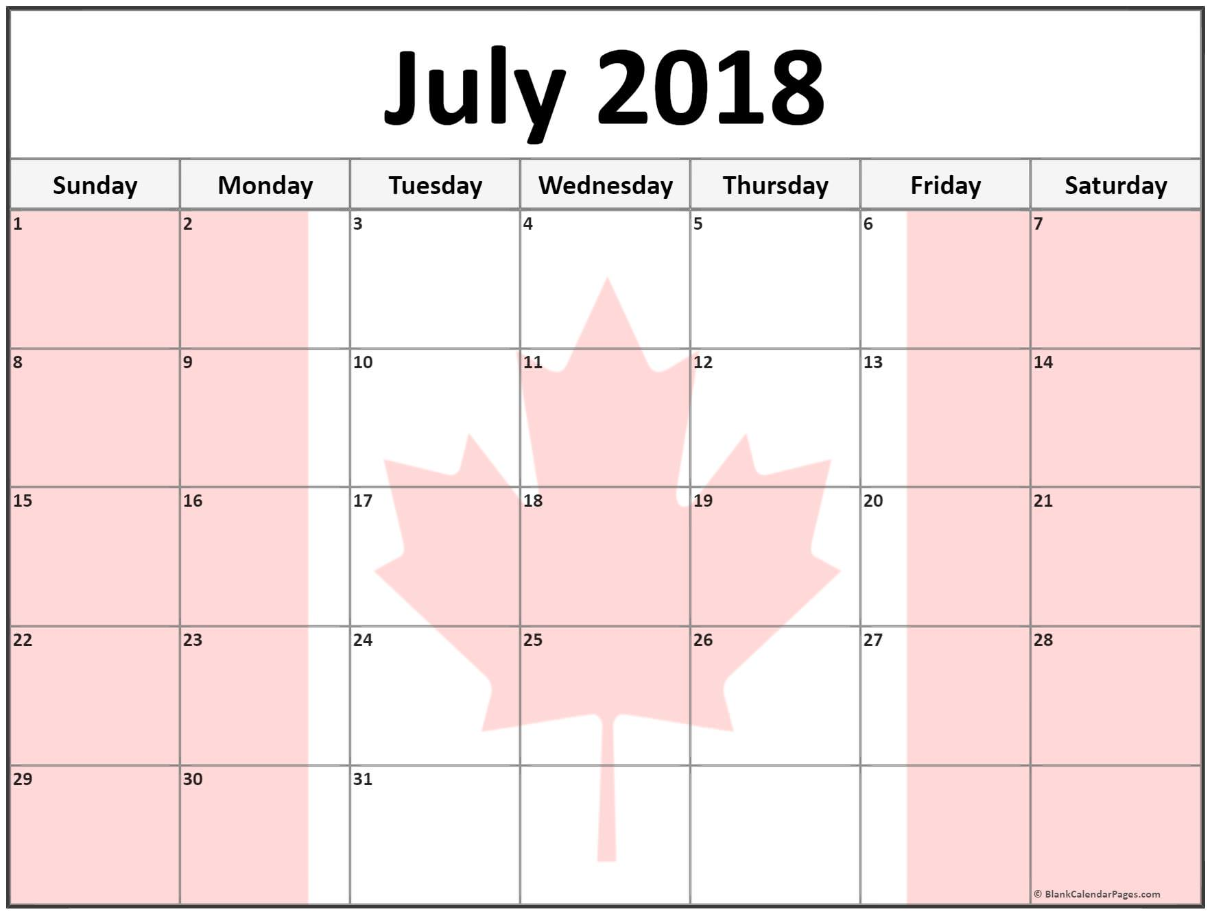 Cute July 2018 Calendar JPG