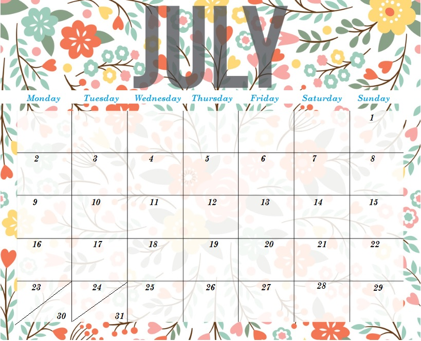 Cute July 2018 Calendar Pink Images
