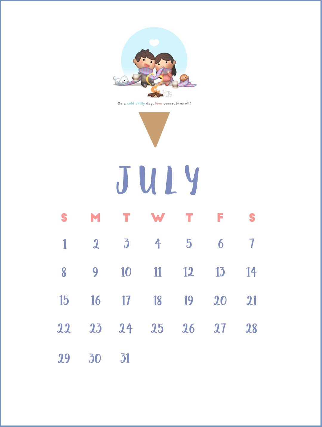 Cute July 2018 Calendar Wallpapers