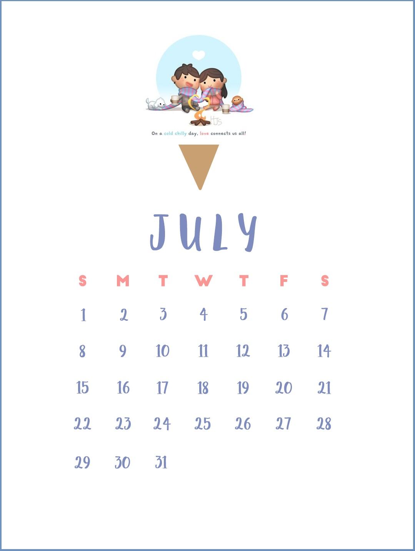 Cute July 2018 Calendar Wallpapers