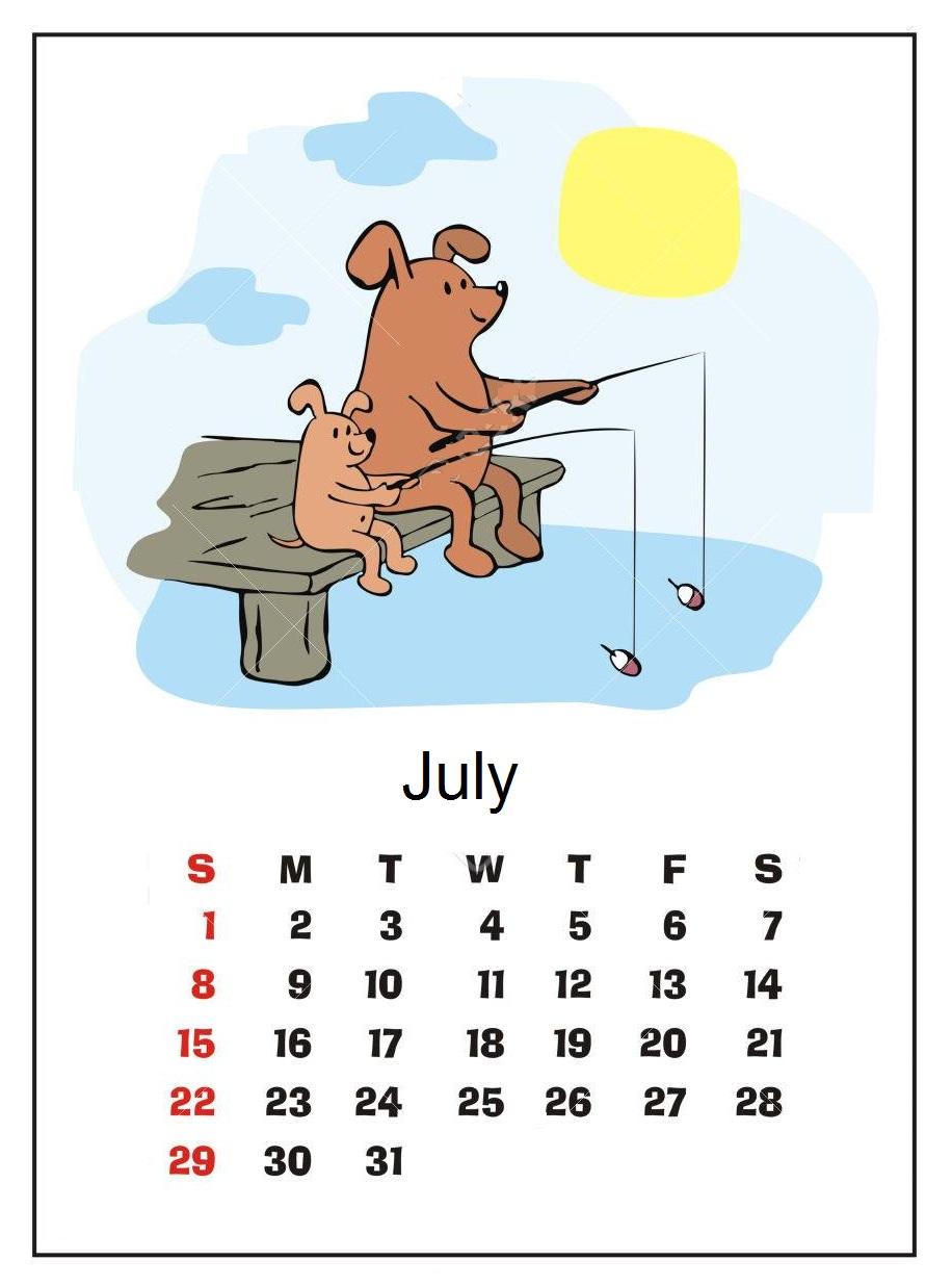 Cute July 2018 Calendar on Tumblr