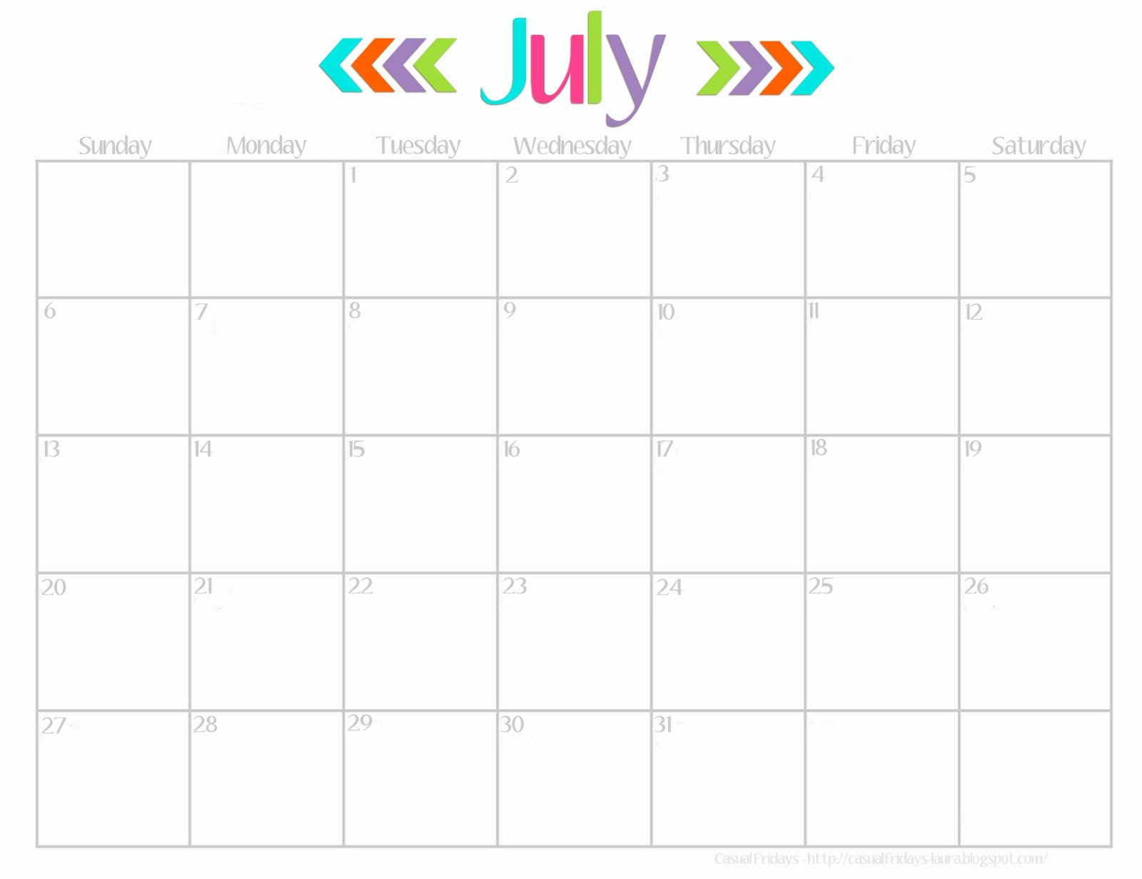 cute calendar template Lovely Cute July 2016 Calendar