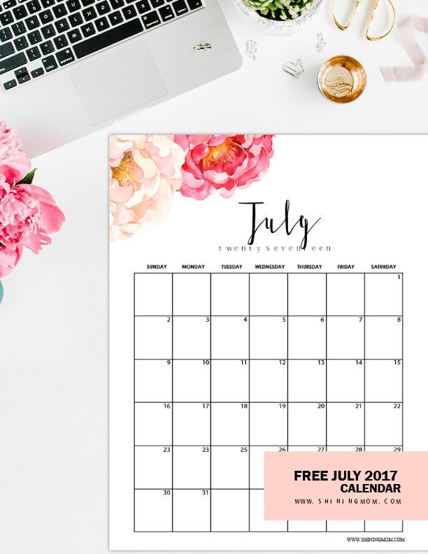 Cute July 2018 Floral Calendar