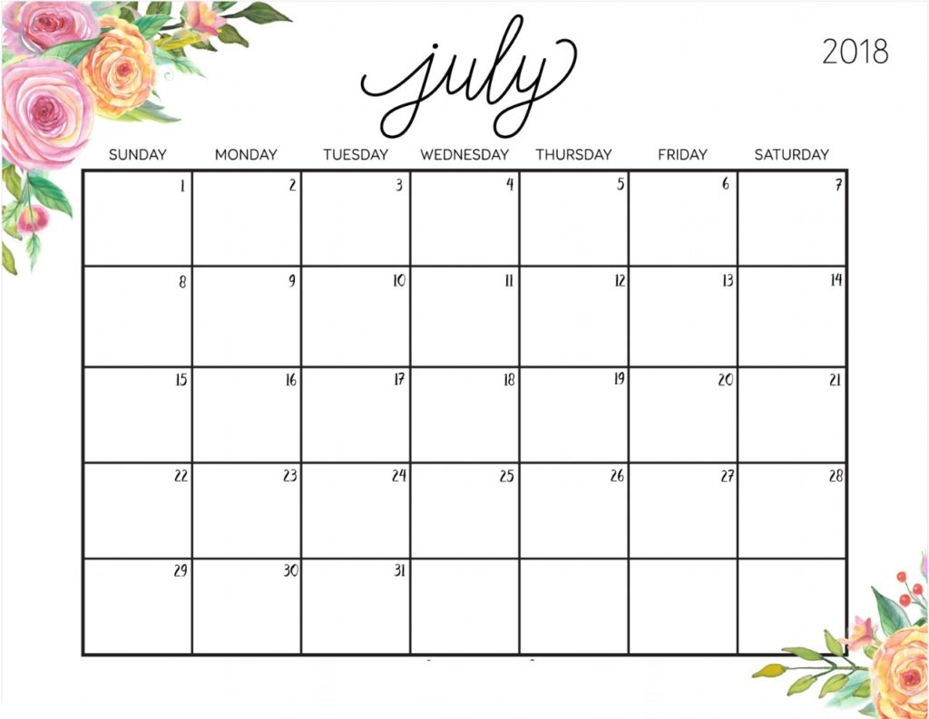 Floral Calendar for July 2018 Wallpaper