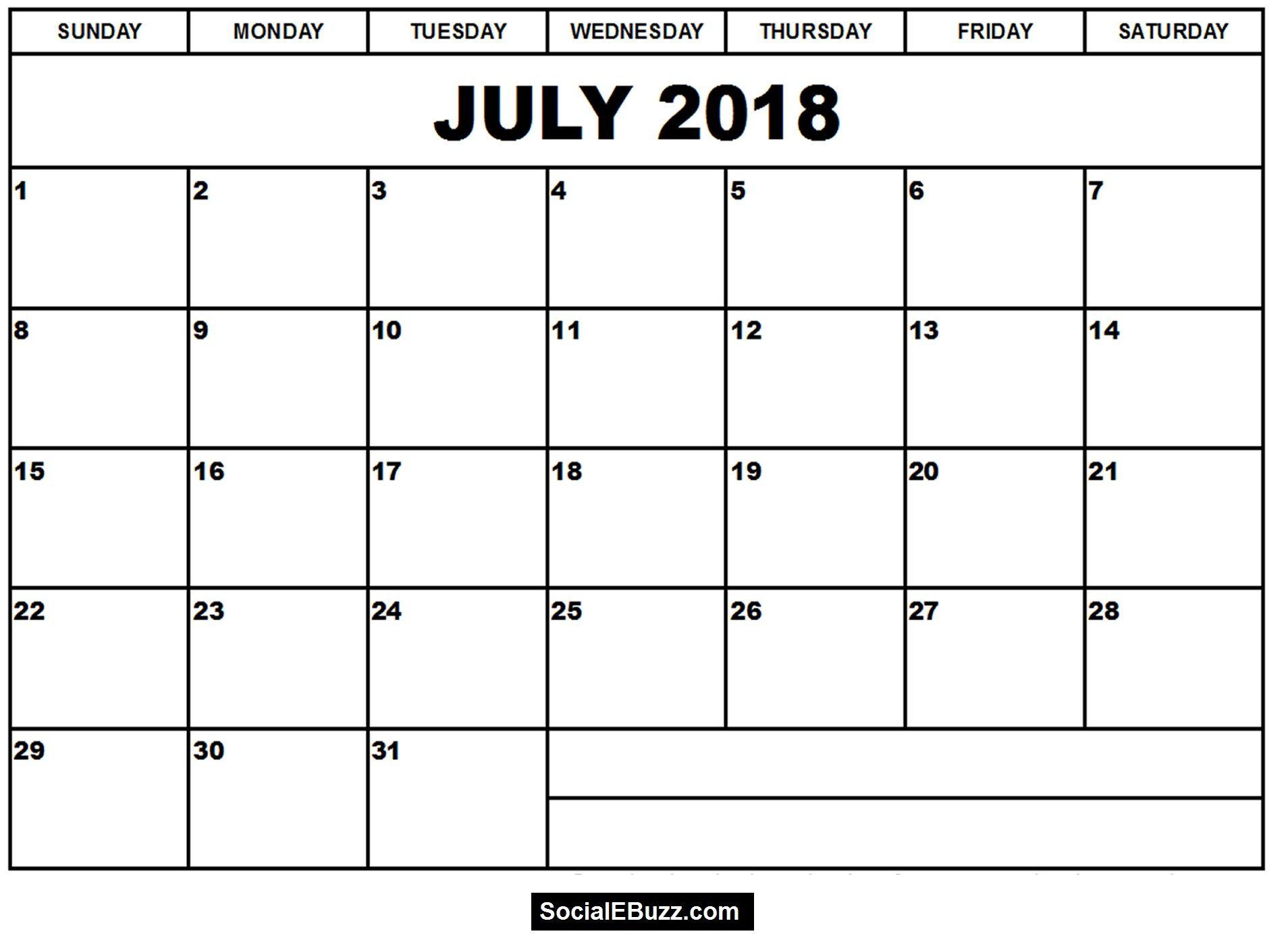 Free Calendar July 2018 Printable Cute