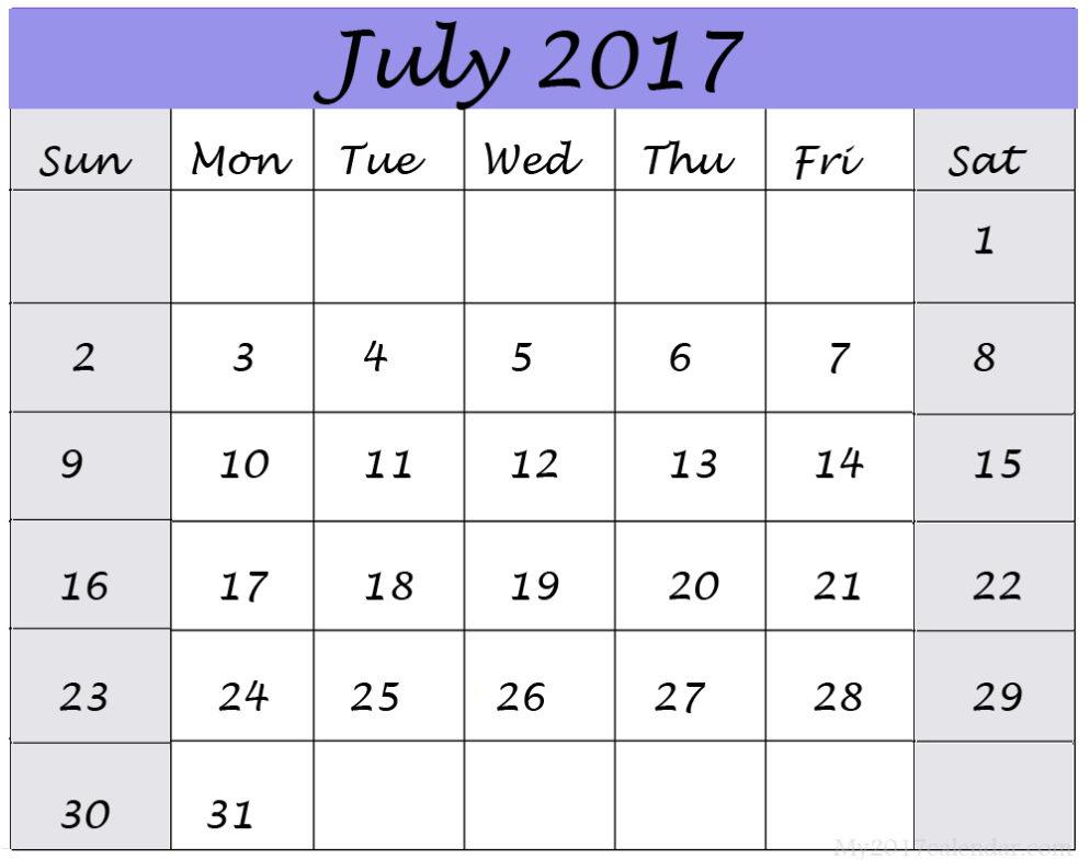July 2017 Calendar UK
