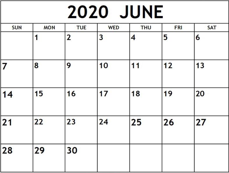 June 2020 Calendar (PDF Word Excel)