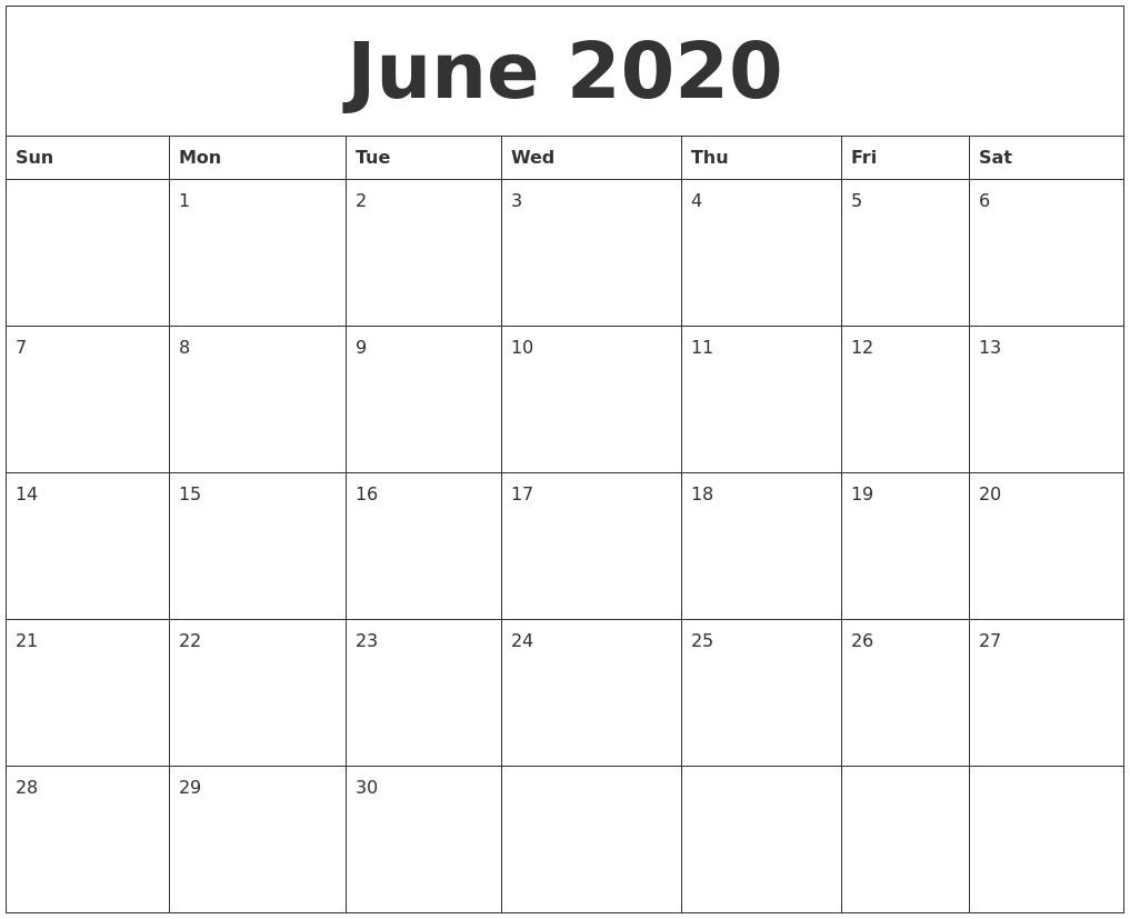 June 2020 Calendar Printable PDF