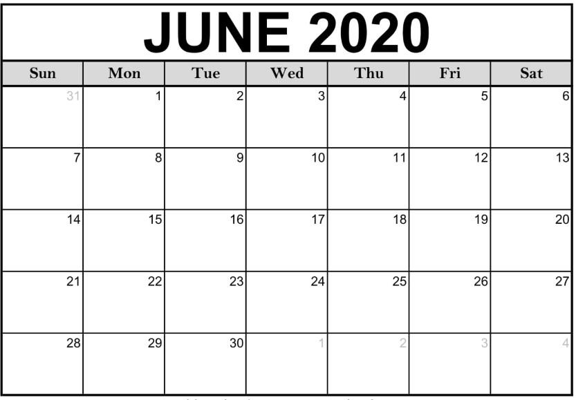 June 2020 Calendar Printable Template