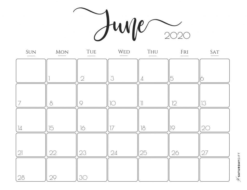 June 2020 Monthly Calendar