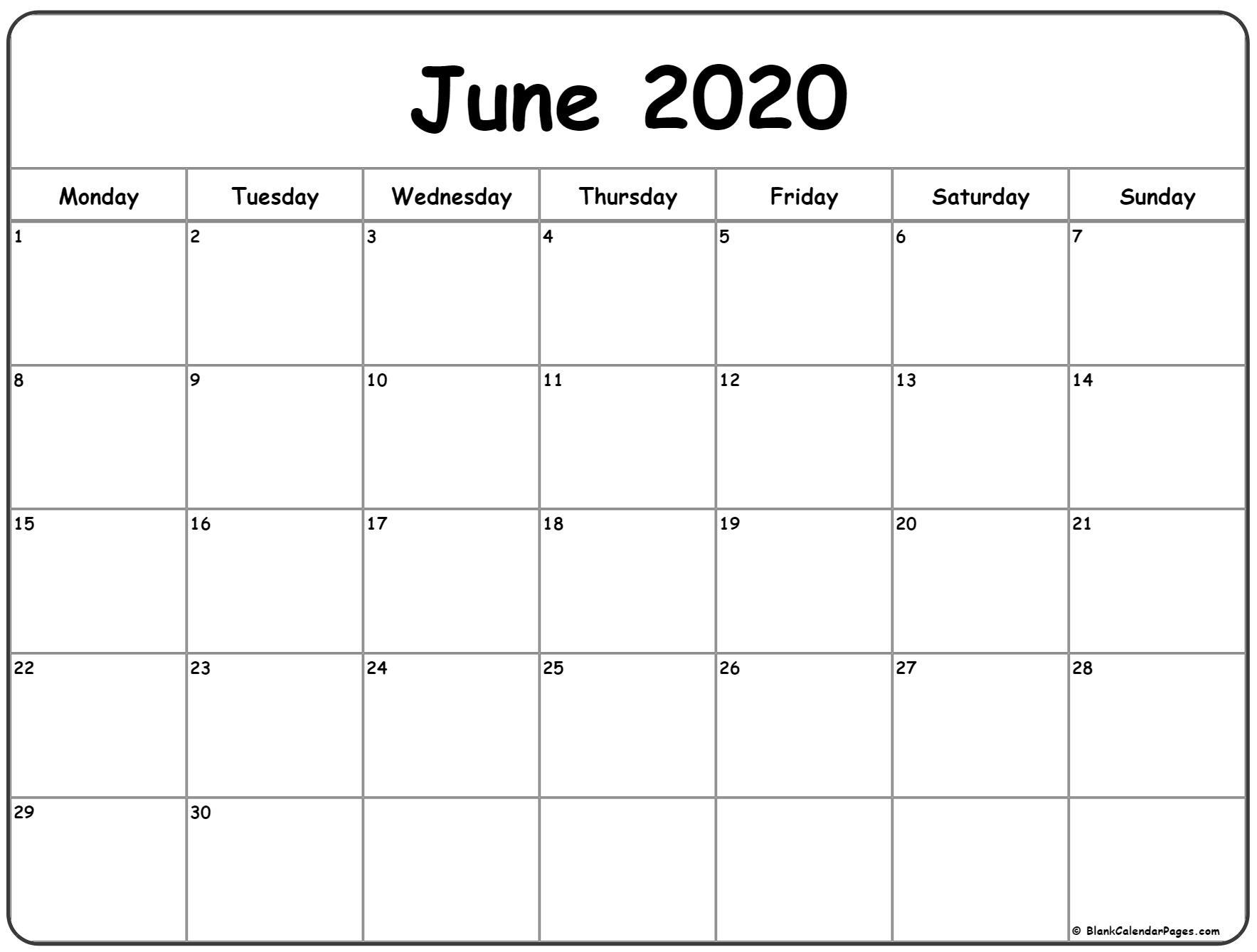 June Calendar 2020 Monday To Sunday