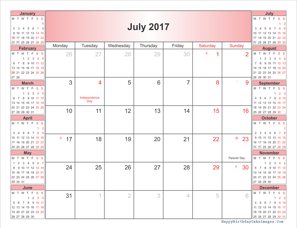 july 2017 printable calendar with holidays and moonphases