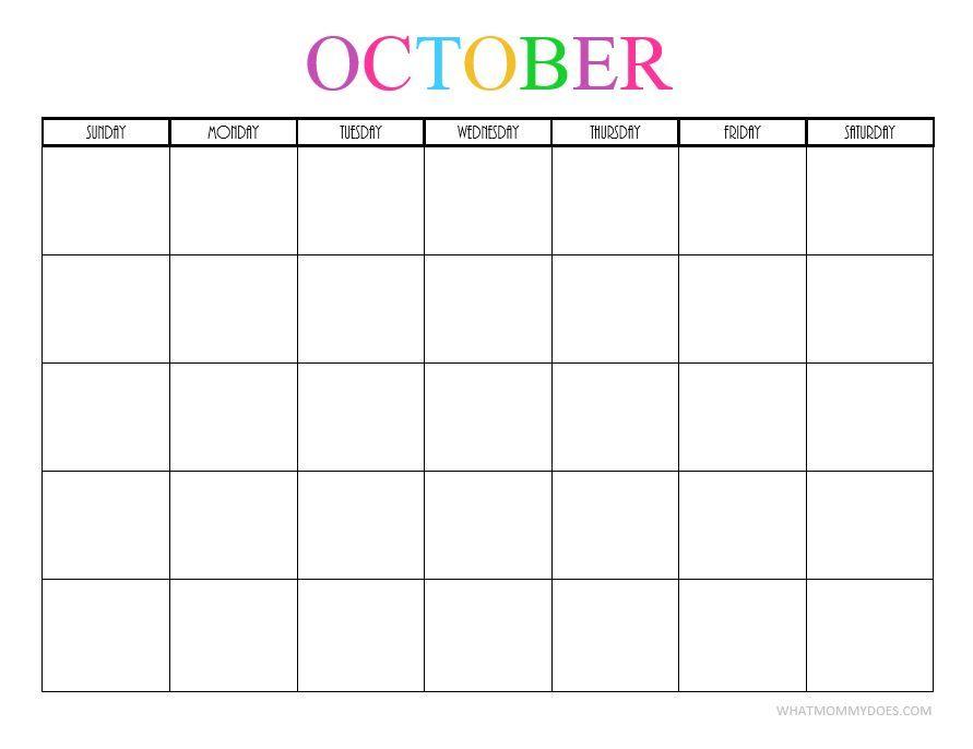 Blank October 2019 Calendar Cute