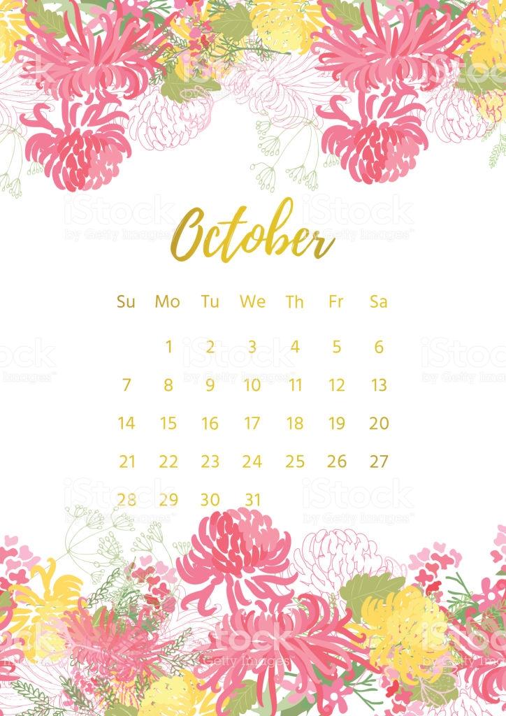 Cute October 2018 Calendar Floral - Cute October 2019 Calendar Floral Wallpaper Designs Images