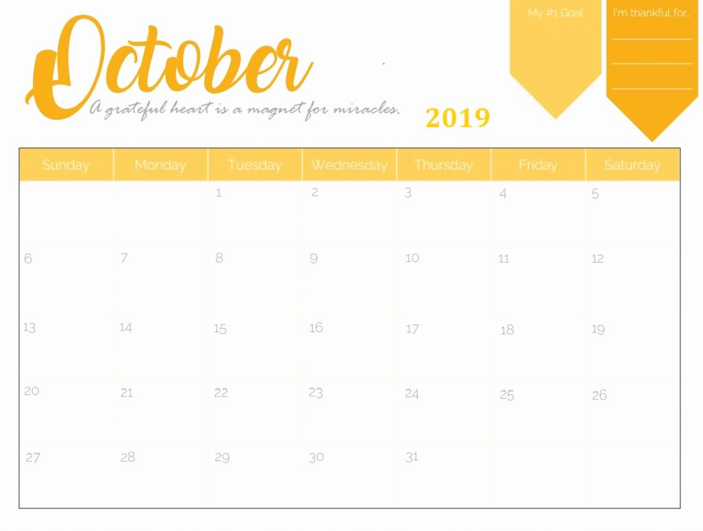Cute October 2019 Calendar Design