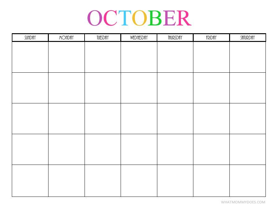 Free Printable Blank October 2019 Calendar