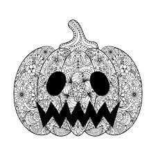 Halloween coloring page drawn in Zentangle style