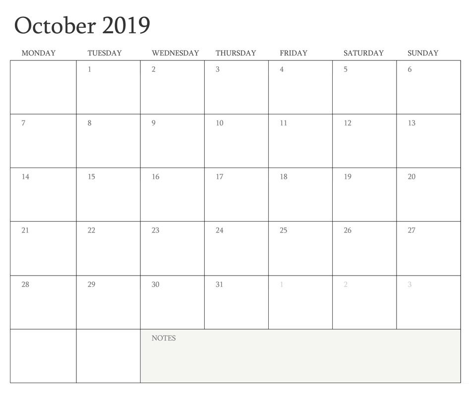 picture relating to Oct Calendar Printable Pdf referred to as Blank Oct 2019 Calendar Printable Templates Site Phrase PDF