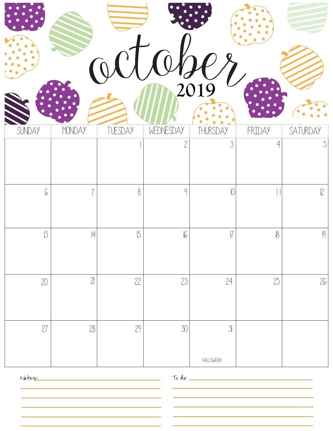 October 2019 Calendar Floral