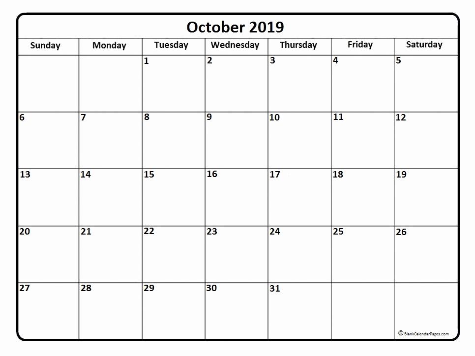 october 2019 calendar template