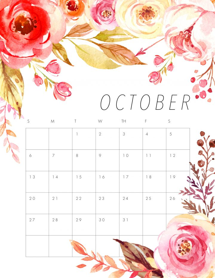 October 2019 Floral Calendar