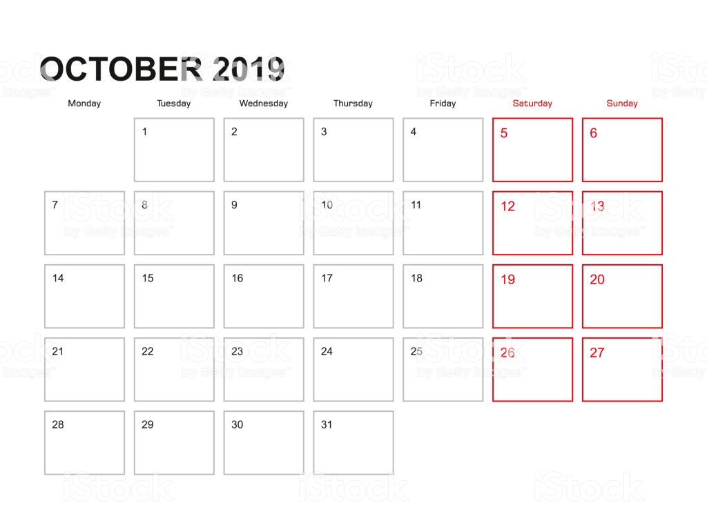 October 2019 Wall Calendar Designs