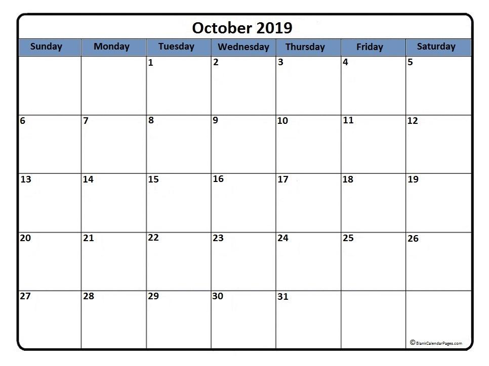 October 2019 blank calendar printable