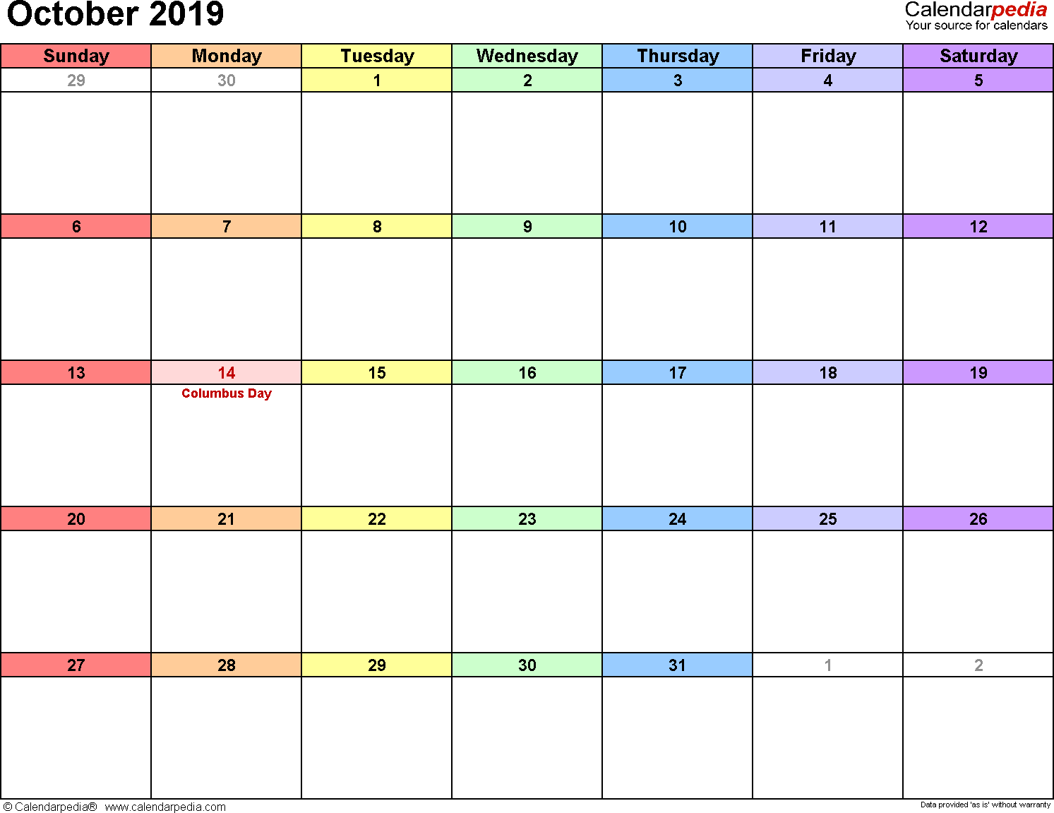 October 2019 calendar printable template