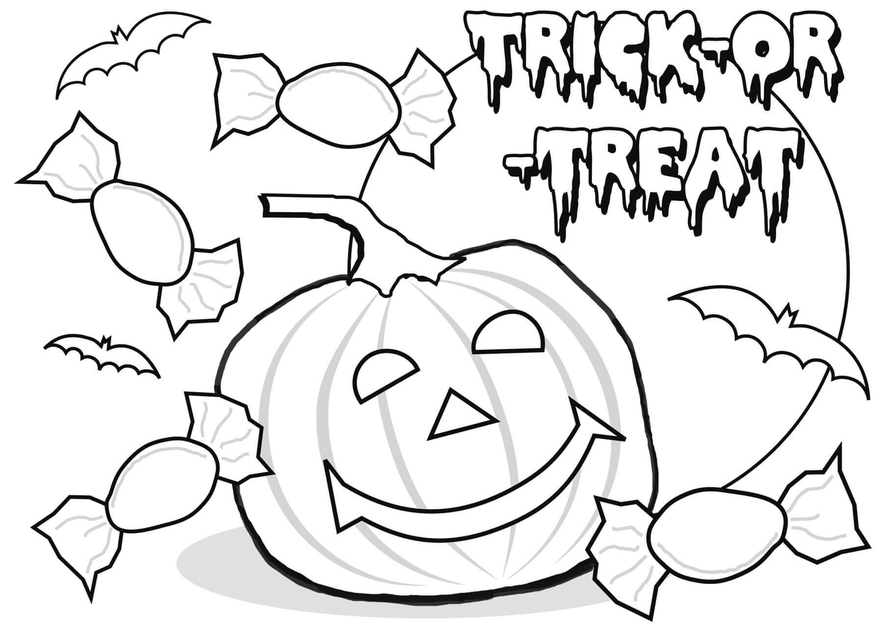 Pumpkin Trick or Treat Halloween Coloring Pages