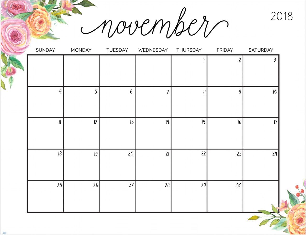 2018 November Calendar Cute