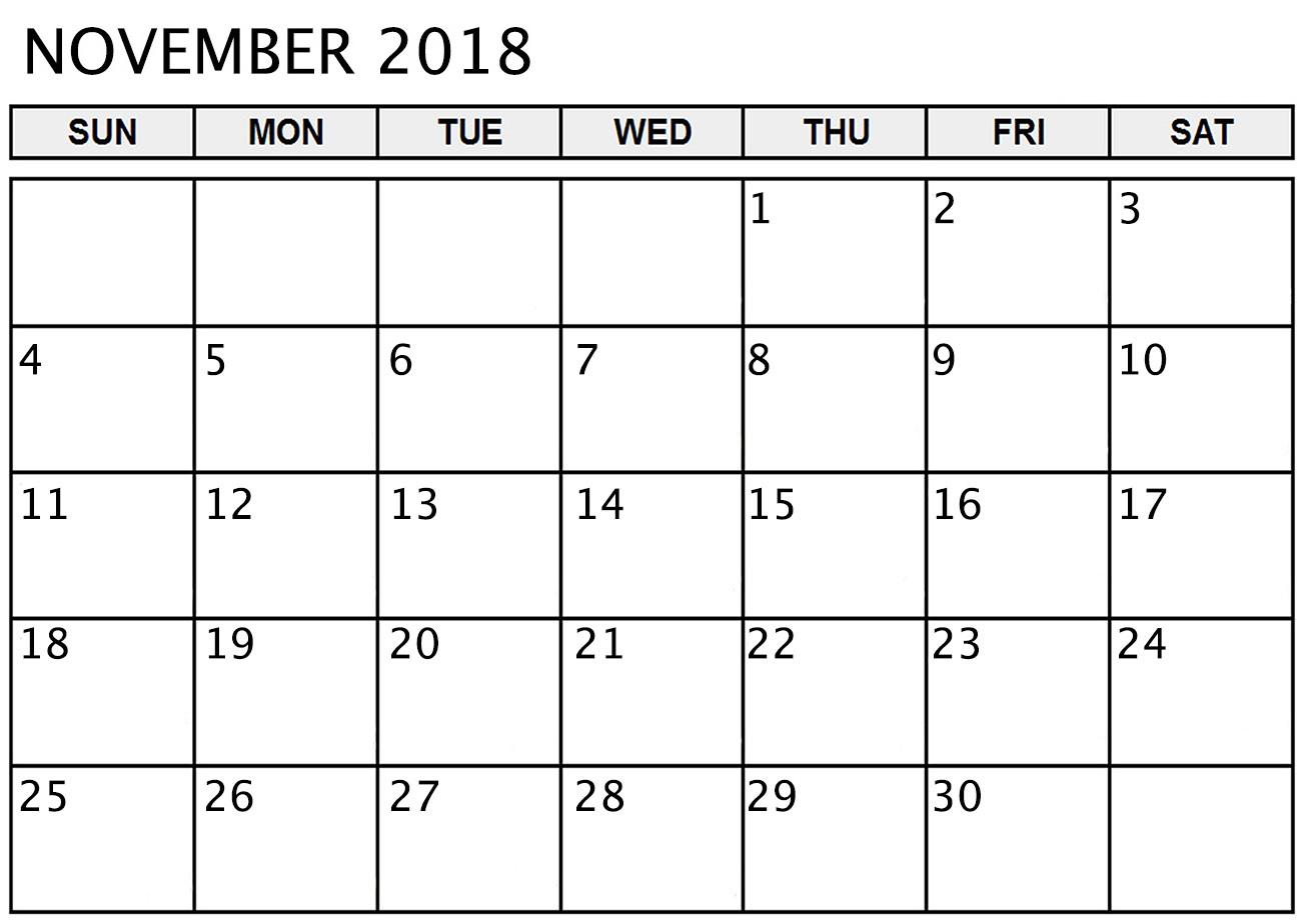 2018 November Calendar Excel