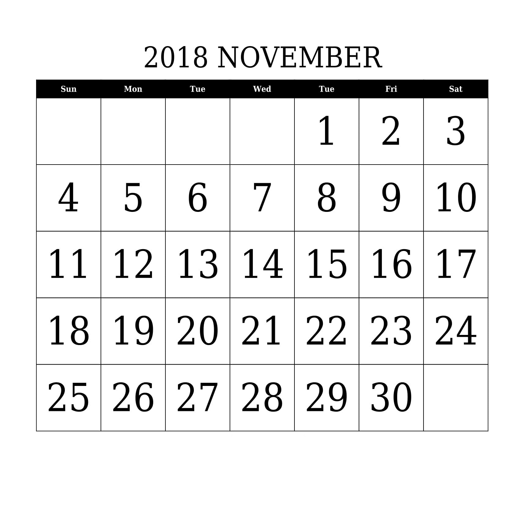 2018 November Calendar Template