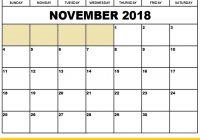 2018 November Calendar Word